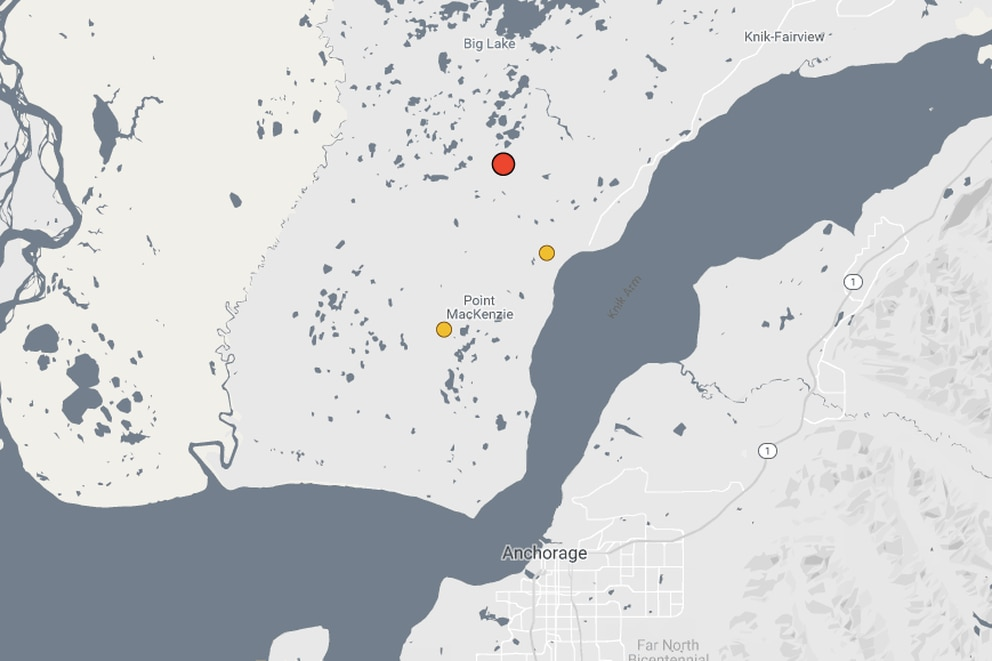 An aftershock initially measured as a magnitude 4.2 struck the Anchorage area on Saturday, March 23, 2019. (Screengrab from Alaska Earthquake Center.)