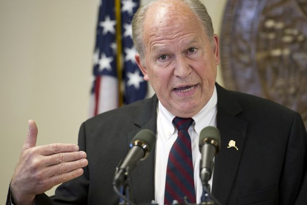 Gov. Bill Walker speaks during a press conference in Juneau on Wednesday, June 15, 2016. Gov. Walker congratulated the Senate on passing SB 128, the Permanent Fund spending bill, and asked the House to do the same. (Michael Penn / Juneau Empire)