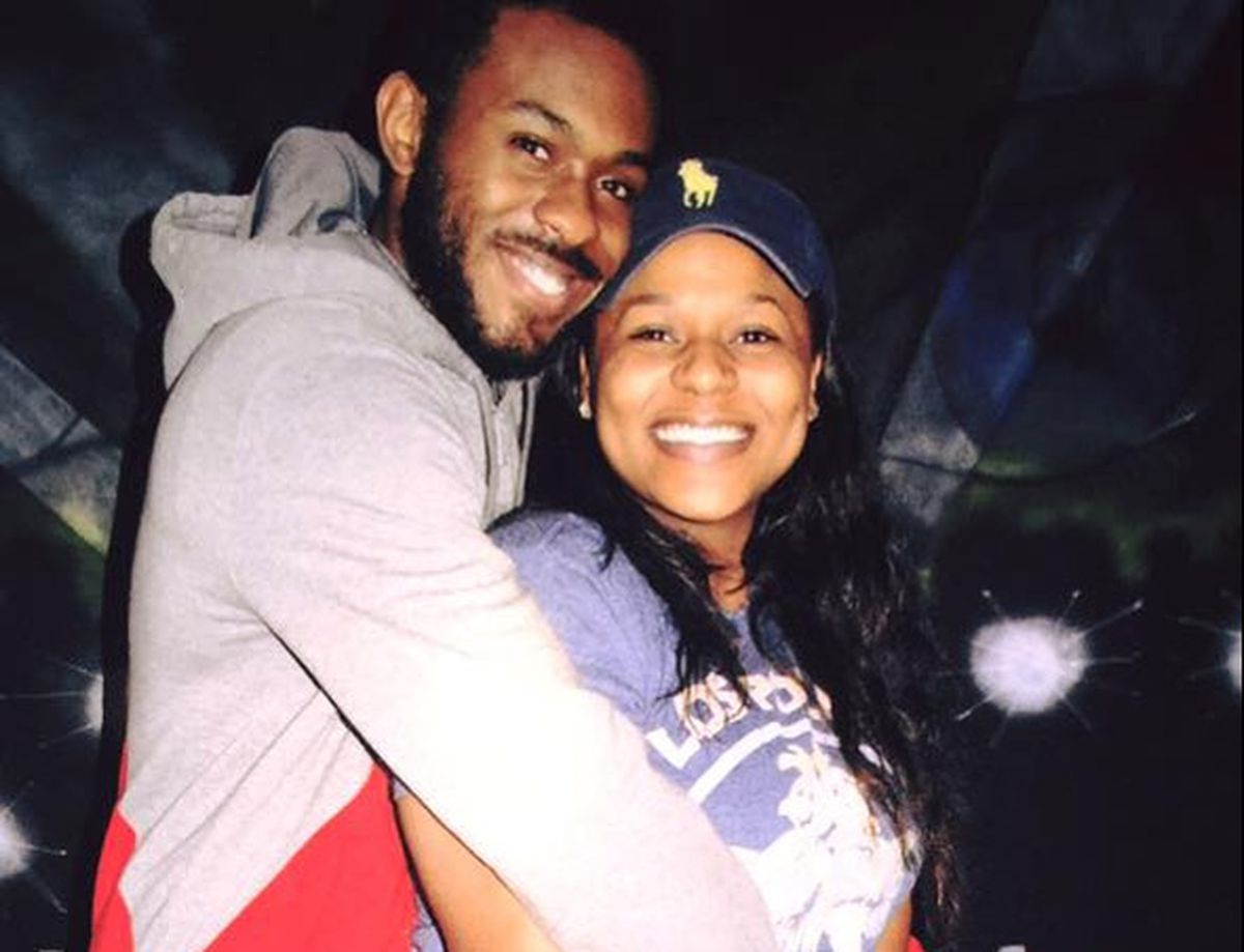 Zaan Scott, a beloved Washington swim instructor, is pictured with his fiancée, Jamese Harvey, in 2016. The two had saved enough money to get married before he was shot and paralyzed last month. Scott was robbed on his way home from work, right after stopping at a Washington corner store to buy Jamese the caramel turtles she loved. (Family photo)