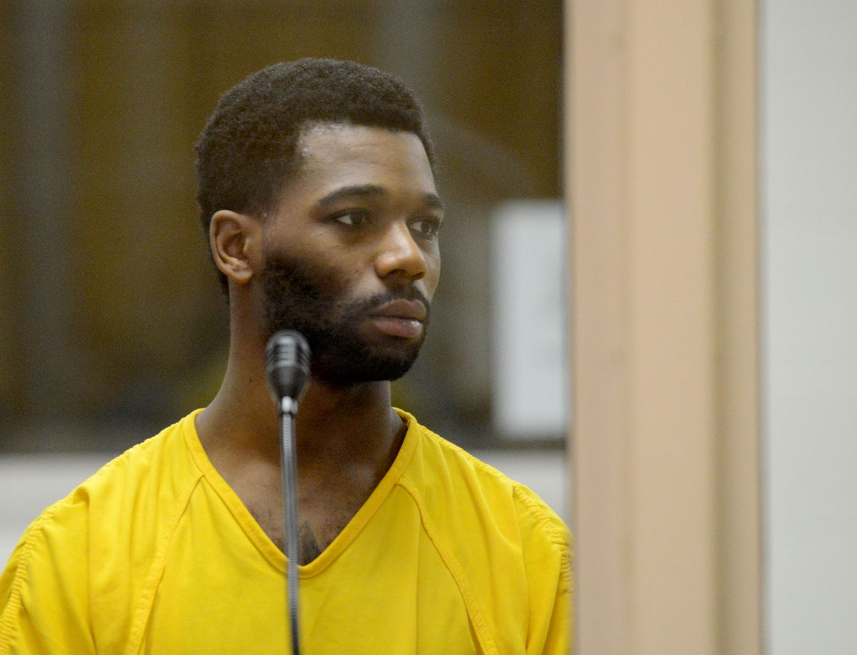 Lamarkus Jayquann Mann, 22, appeared in the Anchorage jail court for charges of two counts of second-degree murder, and single counts of first-degree robbery and burglary in Anchorage, Alaska, on Wednesday. (Bob Hallinen / Alaska Dispatch News)