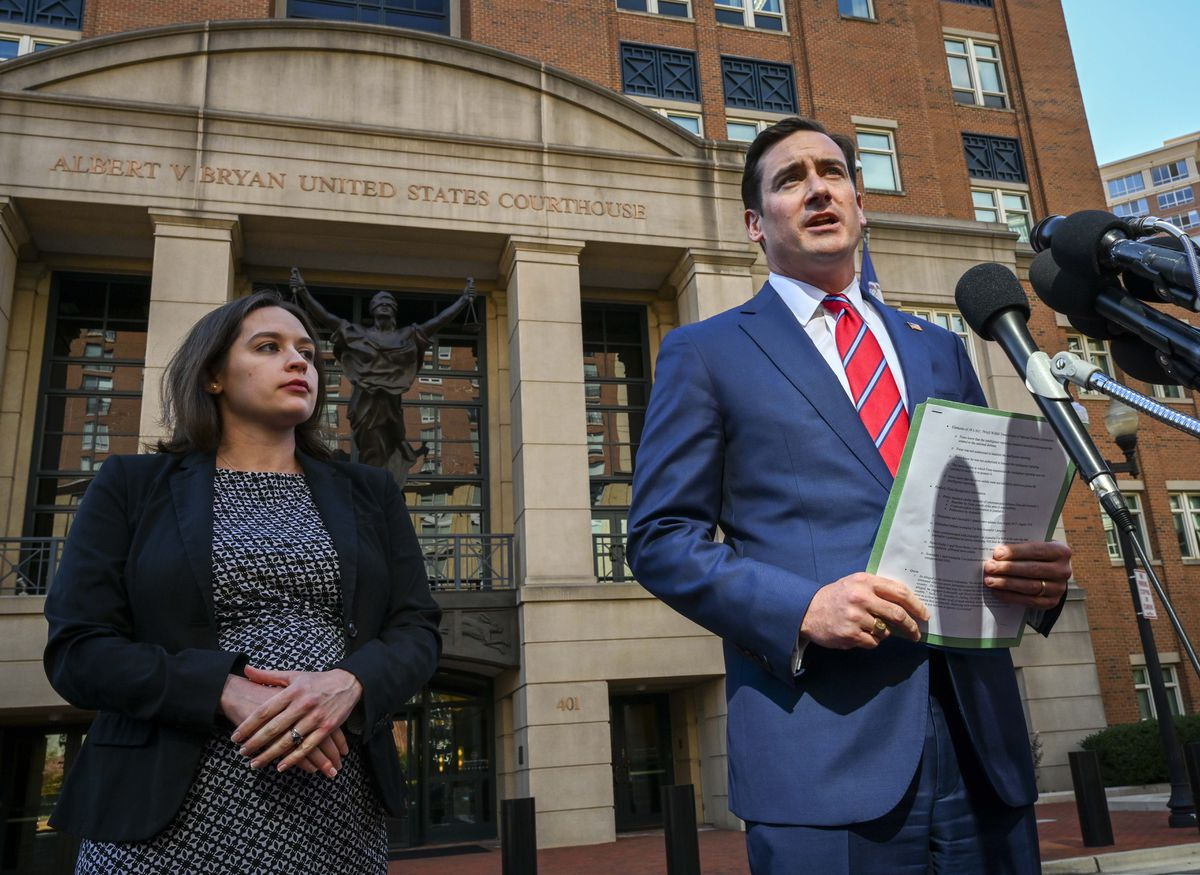 Assistant U.S. Attorney Danya Atiyeh, left, and U.S. Attorney Zachary Terwilliger hold a news conference about an arrest in a national security case in Alexandria, Virginia, on Wednesday, Oct. 9, 2019. (Washington Post photo by Bill O'Leary)