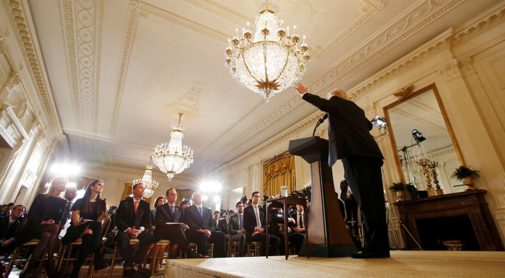 President Donald Trump answers questions during a news conference at the White Houseon Thursday. REUTERS/Kevin Lamarque