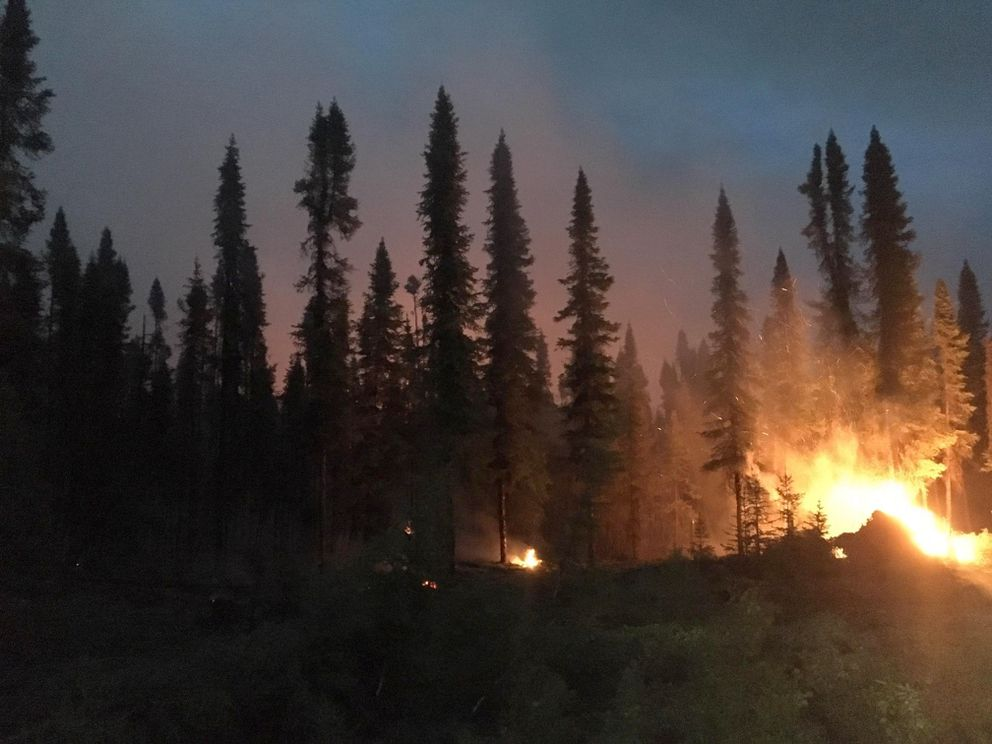 Swan Lake Fire, night of June 23-24, 2019. (Photo by Collin Morse / Kenai Fire Dept.)