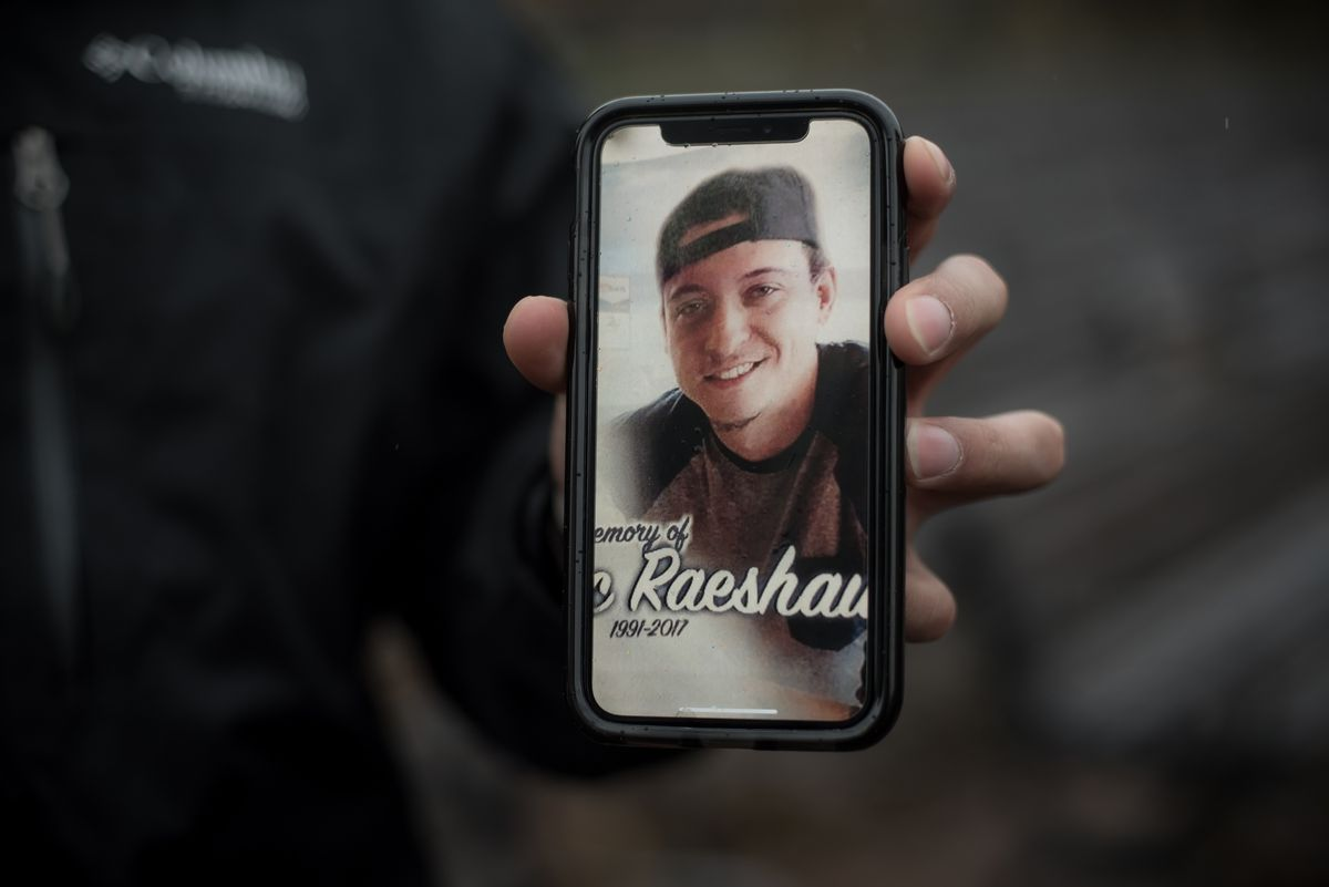 Erick Borrome shows a photo of his best friend, Alec Smith, who died in 2017 from diabetic ketoacidosis. (Photo for The Washington Post by Caroline Yang)