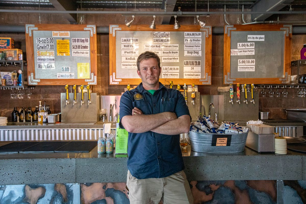 Lee Ellis, director of operations at Midnight Sun Brewing, photographed in the tasting room on Thursday, Aug. 29, 2019. Ellis is also president of Brewers Guild of Alaska, which is concerned about proposed state regulations that would restrict certain kinds of activities in the brewery and attached tasting room. (Loren Holmes / ADN)