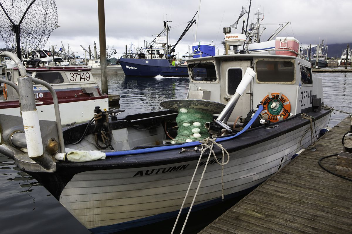 The Copper River fishing vessel Autumn Wind sits at the dock in the Cordova Harbor after the net reel broke free from her deck in rough weather trying to fish the area on Thursday. (Courtesy Bob Martinson)
