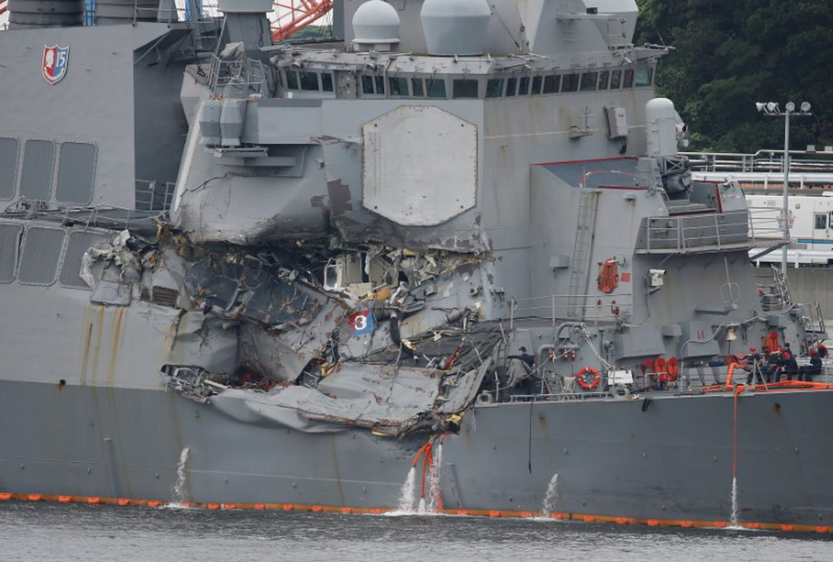 The Arleigh Burke-class guided-missile destroyer USS Fitzgerald, damaged by colliding with a Philippine-flagged merchant vessel, is seen at the U.S. naval base in Yokosuka, Japan, June 18, 2017. REUTERS/Toru Hanai
