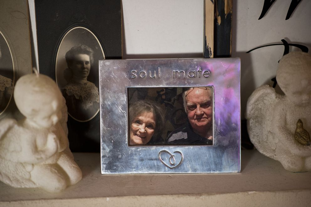 A framed photo of Jerry Smith and Kristie Hocking is displayed in their Anchorage home.  (Marc Lester / Alaska Dispatch News)