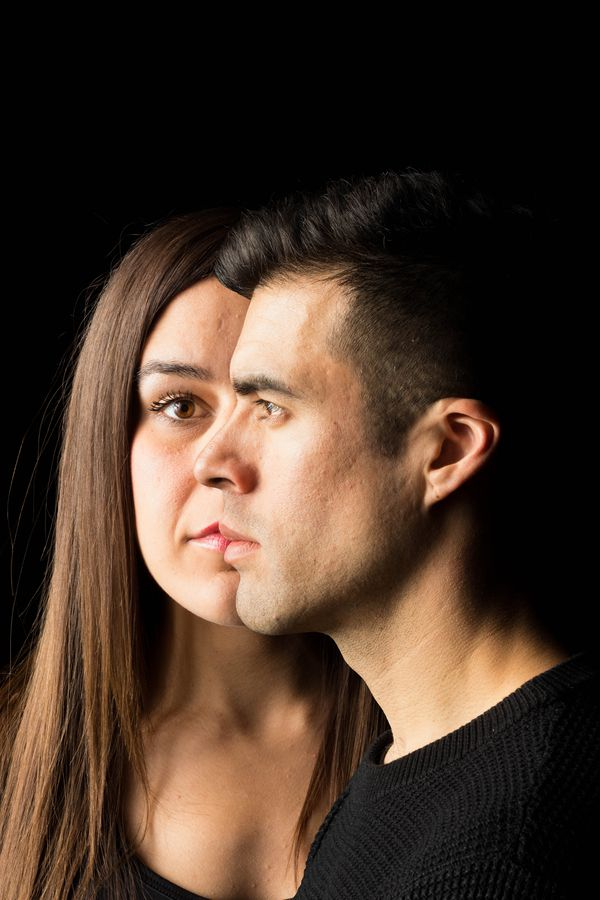 Luis Alejandro Orozco (Hannah before) and Ashley Cutright (Hannah after) star in Anchorage Opera's production of As One. The opera tells the story of a transgender person in transition. Photo illustration by Loren Holmes / ADN