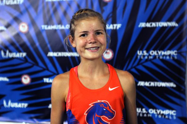 Boise State freshman Allie Ostrander ran to an eighth-place finish in the finals of the women's 5,000 meters at the U.S. Olympic Team Trials for Track and Field on Sunday afternoon, July 10, 2016, at Hayward Field in Eugene, Oregon. (Erik Hill / Alaska Dispatch News)