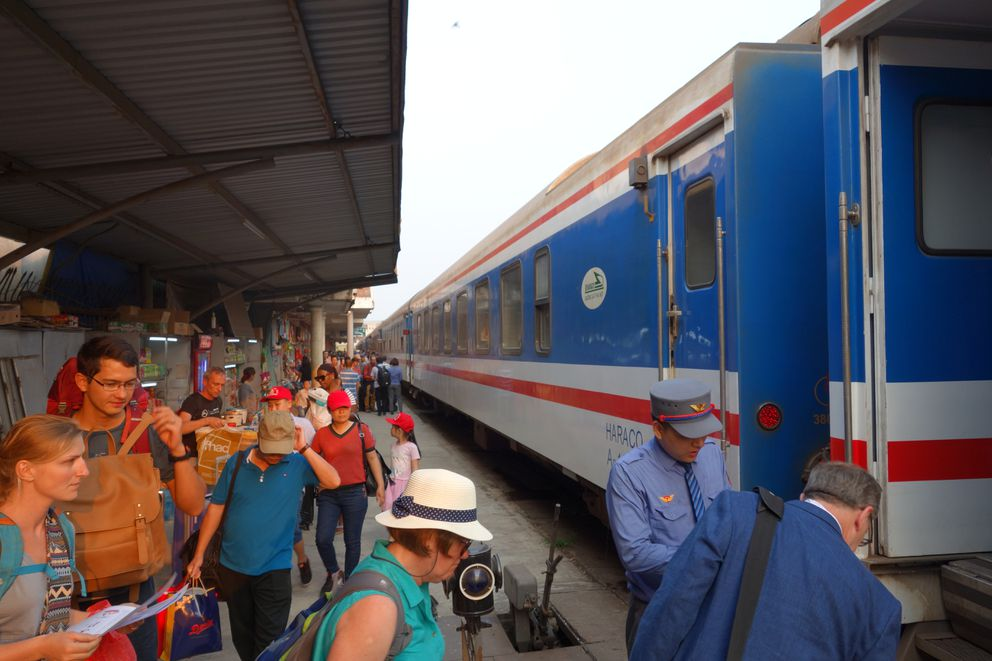 "The ""Reunification Express"" on Vietnam Railways. This is the station in Hue, about half-way between Ho Chi Minh City and Hanoi. (Photo: Scott McMurren)"
