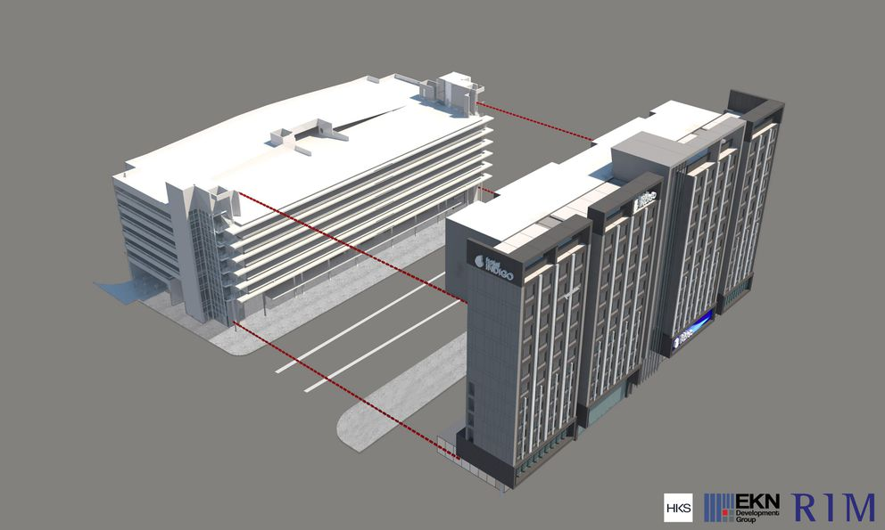 An artist's rendering of how the proposed Hotel Indigo at 700 W.6th Ave. would fit into the current People Mover Downtown Transit Center. (2020 Artist rendering by RIM Architects)