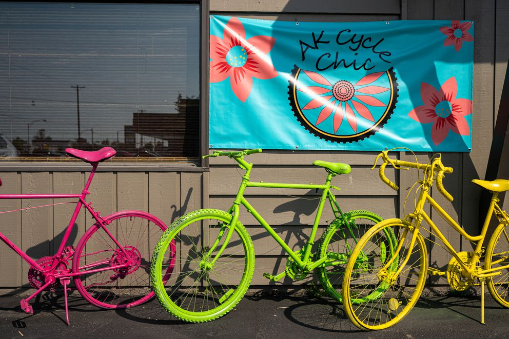 Painted bicycles stand outside AK Cycle Chic on Thursday, July 15, 2021 in Spenard. (Loren Holmes / ADN)