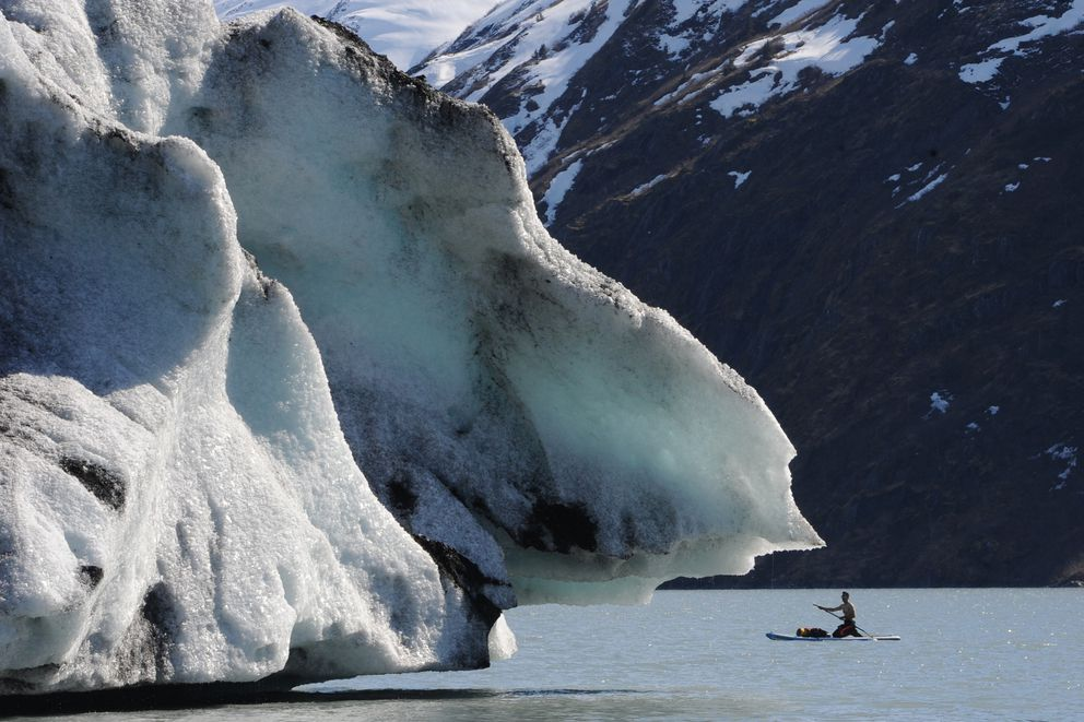 John Limon paddleboards past an iceberg grounded in Portage Lake near the Begich, Boggs Visitor Center on Sunday, April 14, 2019. (Bill Roth / ADN)