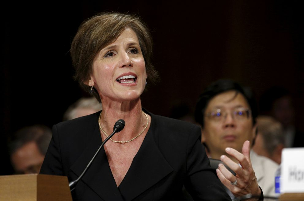 Then-Deputy Attorney General Sally Quillian Yates testifies during a Senate Judiciary Committee hearing in Washington on July 8, 2015. REUTERS/Kevin Lamarque/File Photo
