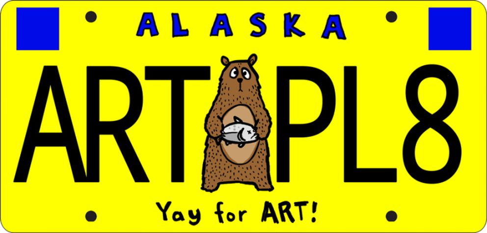 One of a couple of sample plates to illustrate the state's plan to solicit and judge designs for new license plates. (Alaska State Council on the Arts)