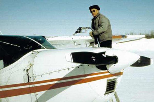 Paul Shanahan refuels a Cessna 185 at the Bettles airport.