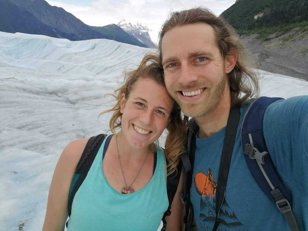 David Simmons, 30, right, pictured here with girlfriend Libby Jacobson, is one of the two people missing after a landslide Wednesday, Dec. 2, 2020, in Haines. (Photo courtesy Libby Jacobson)
