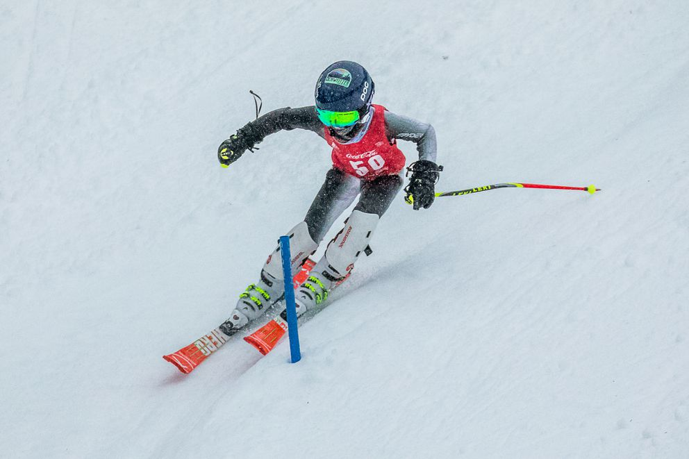 Jaxon Murphy negotiates a stubby gate in the Coca-Cola Classic U12 slalom Saturday at Alyeska. (Photo by Bob Eastaugh)
