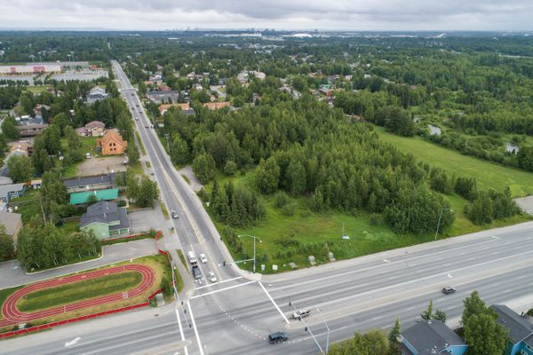 A view of the site of the planned Emerald Hills mixed-use development at Dimond Boulevard and Arlene Street on Friday, June 22, 2018. (Loren Holmes / ADN)