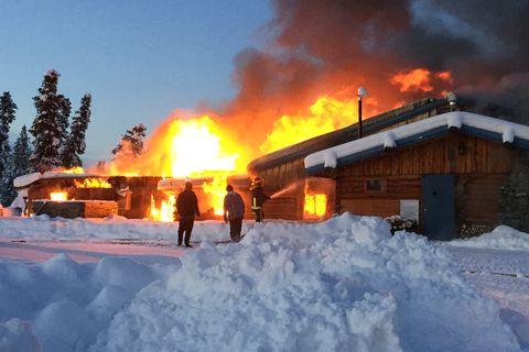 The Mendeltna Creek Lodge, a roadhouse west of Glennallen, burned on Sunday, Dec. 10, 2017. Photo courtesy of Kelly Allain