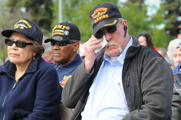 Glen Allen who served in both the U.S. Army and U.S. Marine Corps attended the Memorial Day ceremony at the Veterans' Memorial at the Delaney Park Strip near downtown Anchorage on Monday, May 28, 2018. Allen who served two tours in Vietnam said,