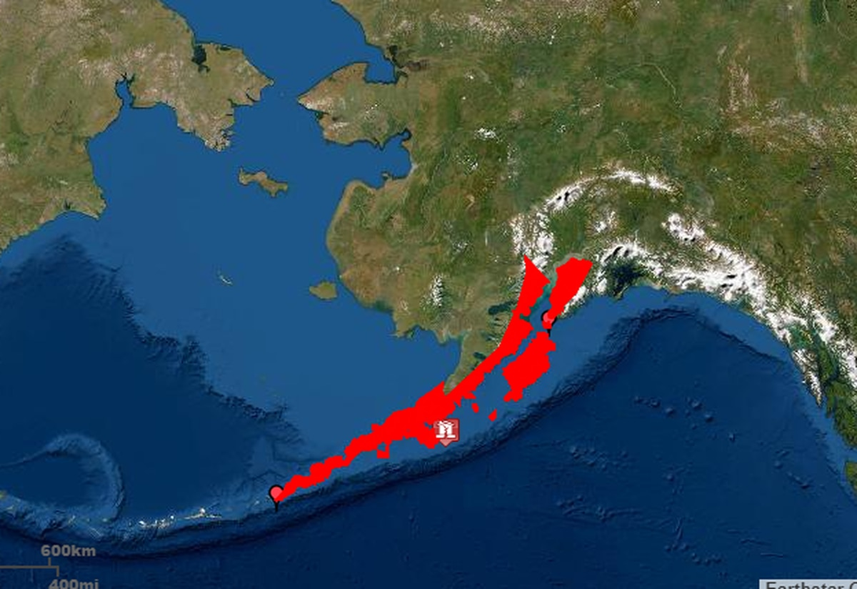 A map on the U.S. Tsunami Warning System website shows tsunami warning areas in red. An earthquake on Tuesday night, July 21, 2020, prompted a tsunami warning across a stretch of coastal Alaska. (Screengrab from tsunami.gov)
