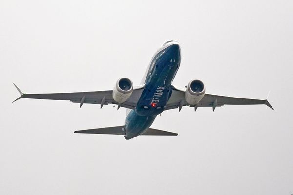 A Boeing 737 MAX jet, piloted by Federal Aviation Administration (FAA) chief Steve Dickson, takes off on a test flight from Boeing Field Wednesday, Sept. 30, 2020, in Seattle. The MAX was grounded worldwide in early March 2019 after the second of two fatal accidents that together killed 346 people aboard almost-new aircraft. (AP Photo/Elaine Thompson)