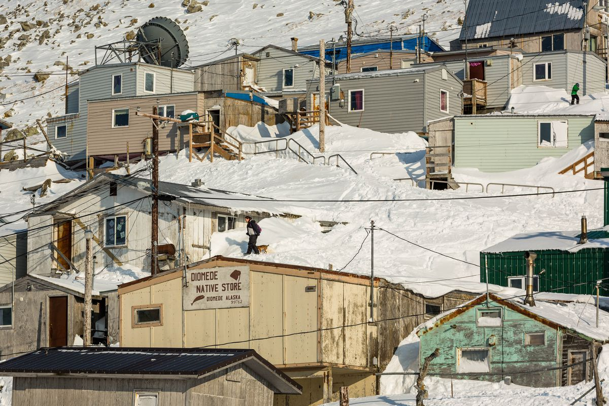 The Alaska village of Little Diomede, in the middle of the Bering Sea, on March 13, 2013. (Loren Holmes / ADN)