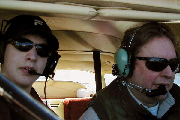 Brandon Andrews, left, took this self-portrait with his father Brian Andrews. The floatplane they were piloting went missing during a flight from Admiralty Island to Juneau on August 9, 2008. Their missing plane was recently found. (Photo by Brandon Andrews)
