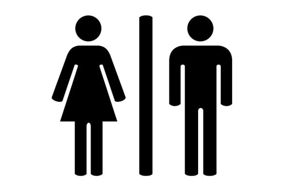 Bathroom signs, female and male. (Clipart Library)