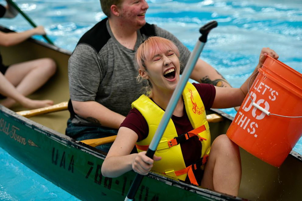 Chloe Williams, a member of the Psych Club, laughs during competition. (Marc Lester / ADN)