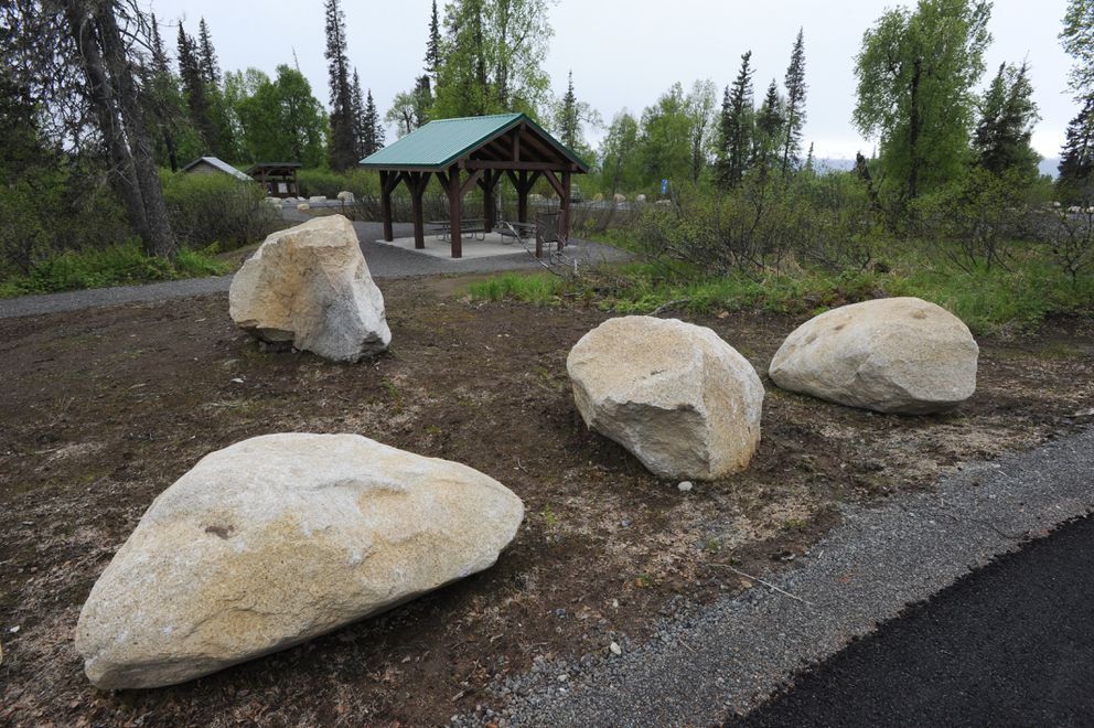 Picnic pavilion at the new K'esugi Ken Campground in Denali State Park at Mile 135.4 of the Parks Highway on Sunday, May 28, 2017. (Bill Roth / Alaska Dispatch News)