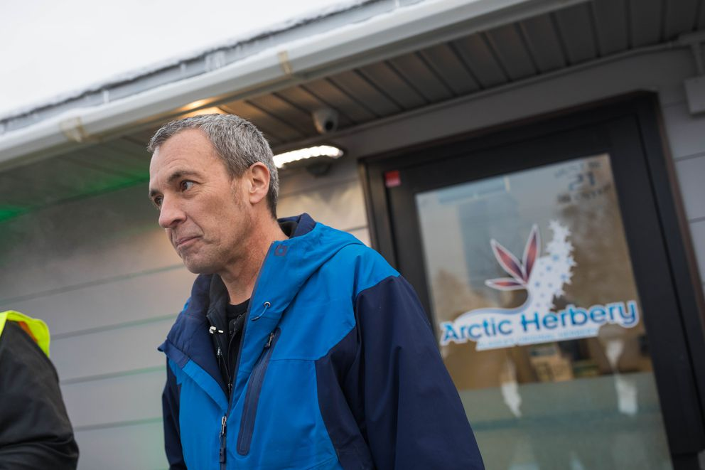 Arctic Herbery owner Bryant Thorp waits outside his shop before the official opening on Thursday, Dec. 15, 2016. Arctic Herbery was the first legal marijuana retail store to open in Anchorage, Alaska's largest city. (Loren Holmes / Alaska Dispatch News)