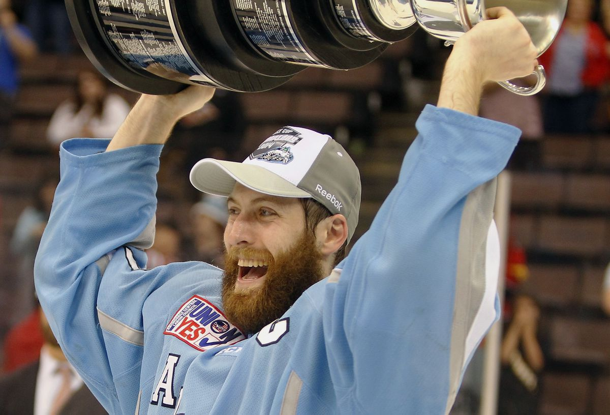 Alaska Aces Nick Mazzolini celebrates after winning the Kelly Cup in 2011. (Photo by Tony Tribble)