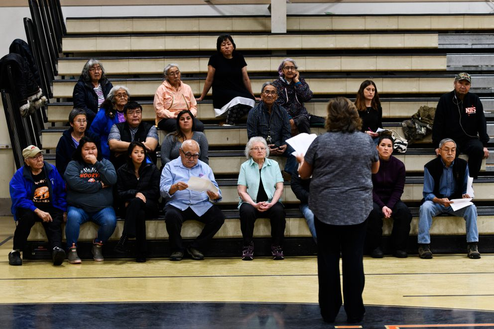 Noorvik residents and others rehearse the ceremony for Gov.-elect Mike Dunleavy's inauguration in the gym of Nooorvik School on December 2, 2018. (Marc Lester / ADN)