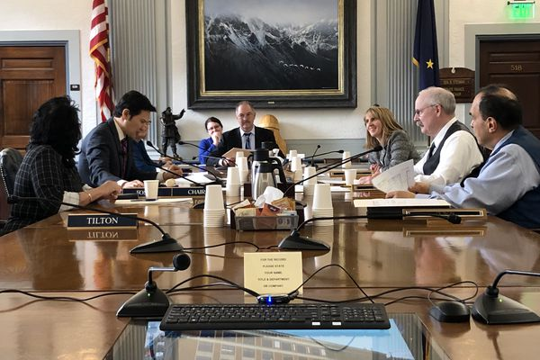 Members of the joint House-Senate budget conference committee meet Saturday afternoon, May 11, 2019 at the Alaska State Capitol in Juneau. (James Brooks / ADN)