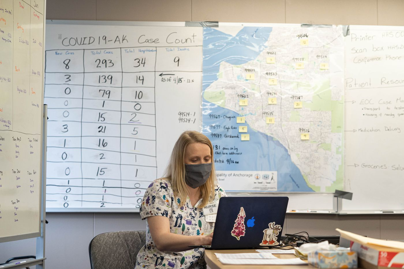 Anchorage School District nurse Bethany Zimpelman works on the COVID-19 contact investigations and monitoring team on Thursday, April 16, 2020. The team is made up of nurses from the municipality as well as from the Anchorage School District. (Loren Holmes / ADN)