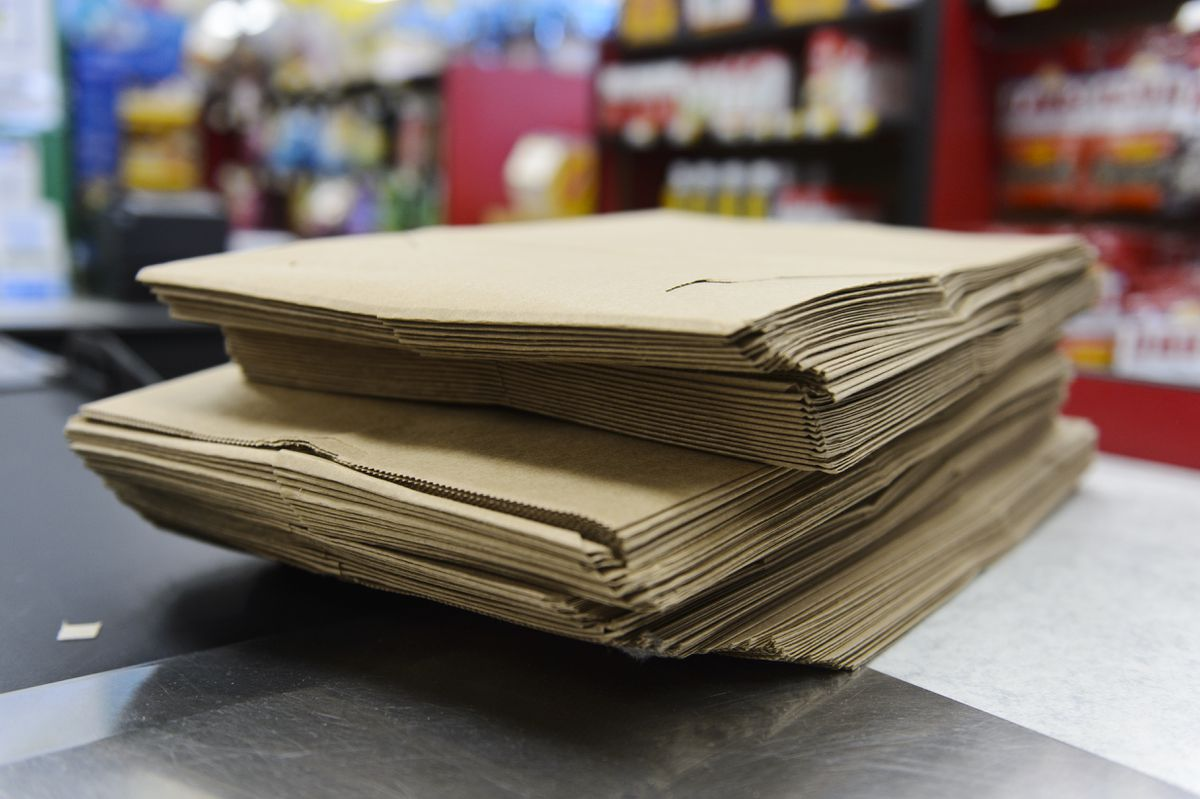 Paper bags at Red Apple Markets. (Marc Lester / ADN)