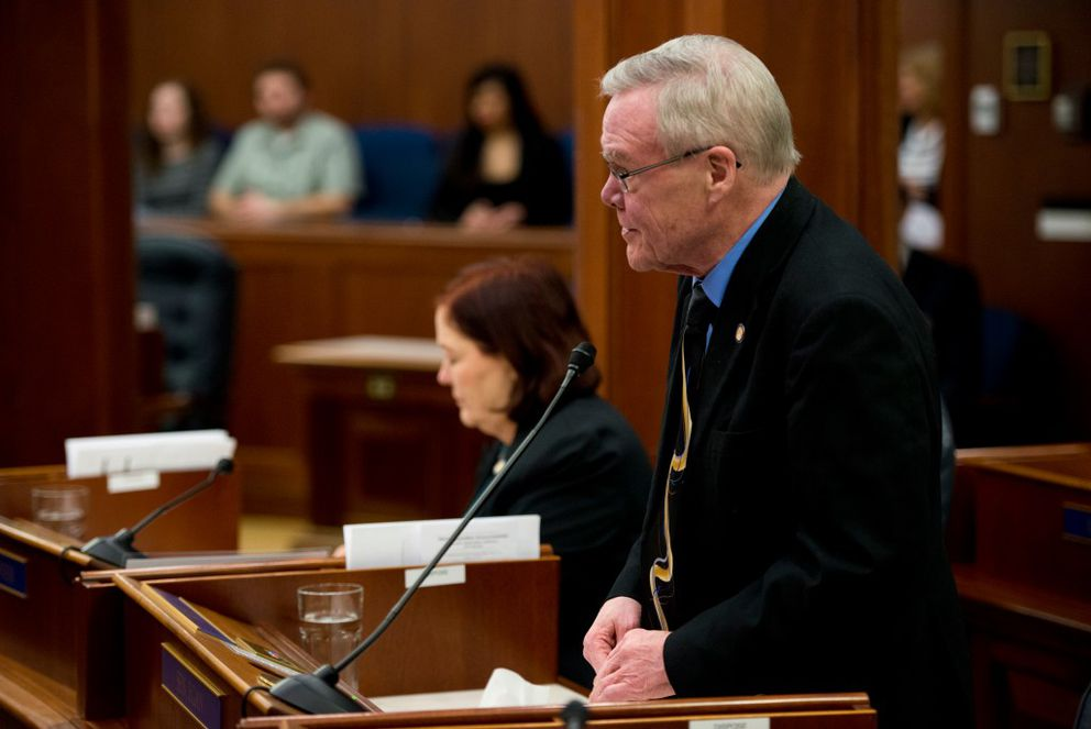 Sen. Dennis Egan, D-Juneau, in tie and coat on the Senate floor last month. (Marc Lester / Alaska Dispatch News)