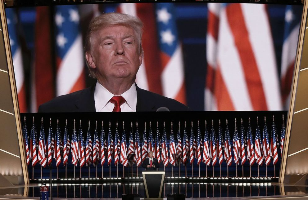 Republican U.S. presidential nominee Donald Trump speaks during the final session of the Republican National Convention in Cleveland, July 21, 2016. REUTERS/Mike Segar