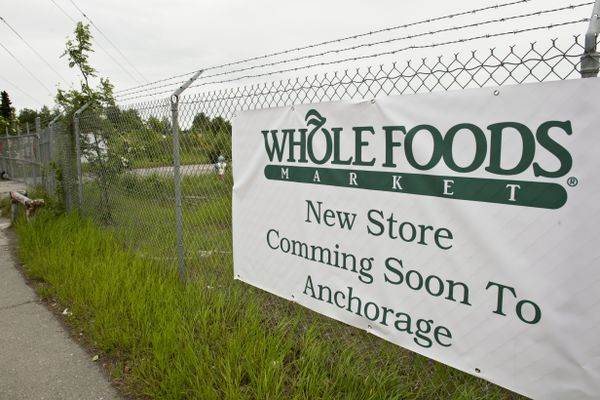 A sign claiming that the grocery chain Whole Foods Market is coming to Anchorage recently appeared on a 3rd Avenue fence. Photographed June 12, 2017. (Marc Lester / Alaska Dispatch News)