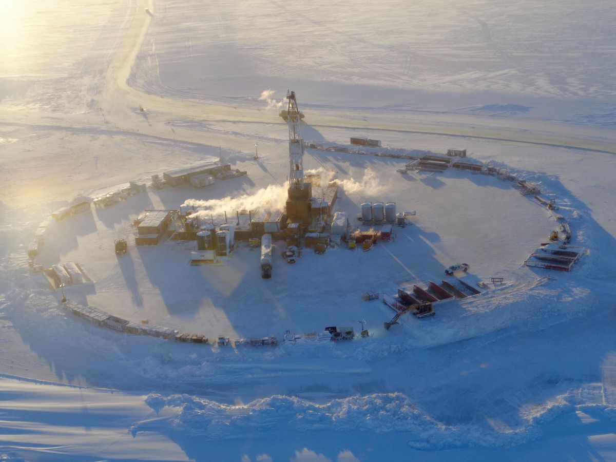 A rig explores for oil at Smith Bay on Alaska's North Slope for Caelus Energy in this 2014 photo. Caelus was among many small explorers who participated in the state's former tax credit program. (Photo provided by Caelus Energy)