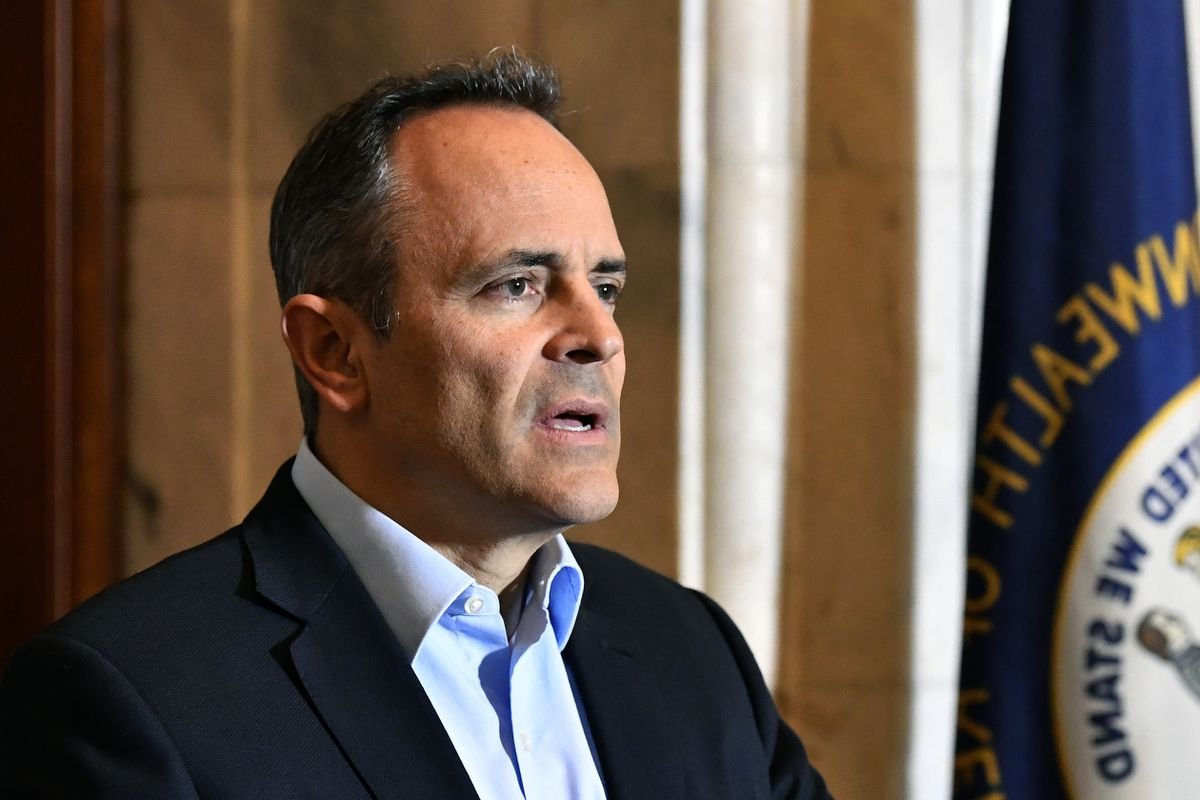 Republican Kentucky Governor Matt Bevin speaks with reporters as he conceded the gubernatorial race to democrat Andy Beshear in Frankfort, Ky., Thursday, Nov. 14, 2019. (AP Photo/Timothy D. Easley)