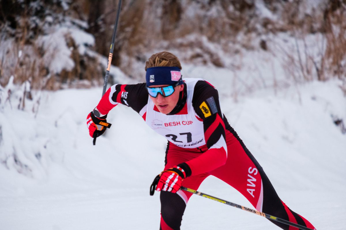 Gus Schumacher skis to first place in Saturday's Alaska Cup cross-country ski race at Government Peak. (Courtesy Chase Burnett)
