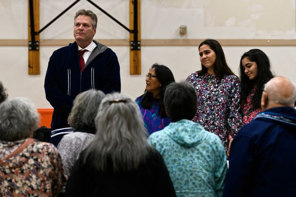 Noorvik elders sing to honor Gov. Mike Dunleavy. Gov. Mike Dunleavy is greeted in Noorvik on December 3, 2018. His inauguration was supposed to happen there, but weather caused his delayed arrival. He was inaugurated in Kotzebue. (Marc Lester / ADN)