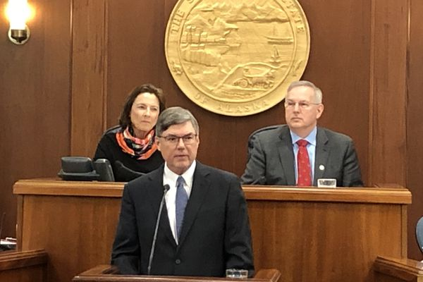 Alaska Chief Justice Joel Bolger delivers the annual State of the Judiciary address to the Alaska Legislature on Wednesday, Feb. 12, 2020 as Senate President Cathy Giessel, R-Anchorage, and Speaker of the House Bryce Edgmon, I-Dillingham, sit behind. (James Brooks / ADN)