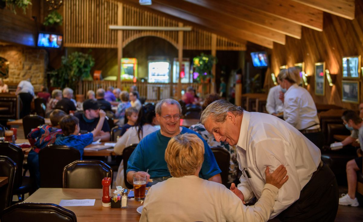 Rod Ambrogi greets patrons at the restaurant his family has run since 1959. Photo by Jeff Swensen for The Washington Post