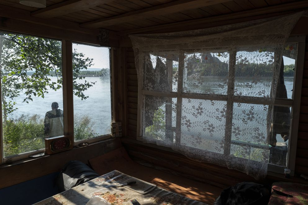 The Kolyma River is seen through the windows of a hunting lodge in Siberia. (Washington Post photo by Michael Robinson Chavez)