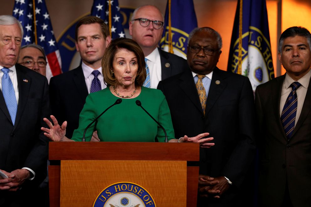 U.S. House Minority Leader Nancy Pelosi holds a news conference with Democratic leaders Friday on the Republicans' failed attempt to repeal the Obamacare health care legislation. REUTERS/Jonathan Ernst